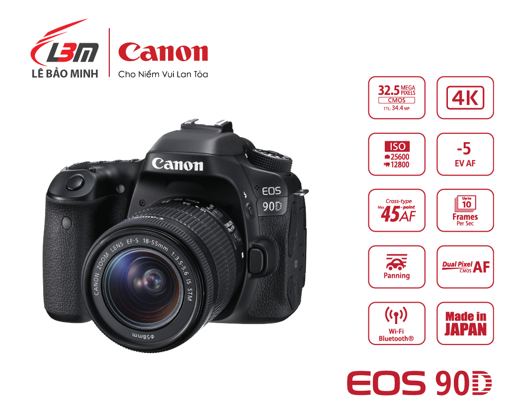 Máy ảnh Canon EOS 90D kit 18-55mm