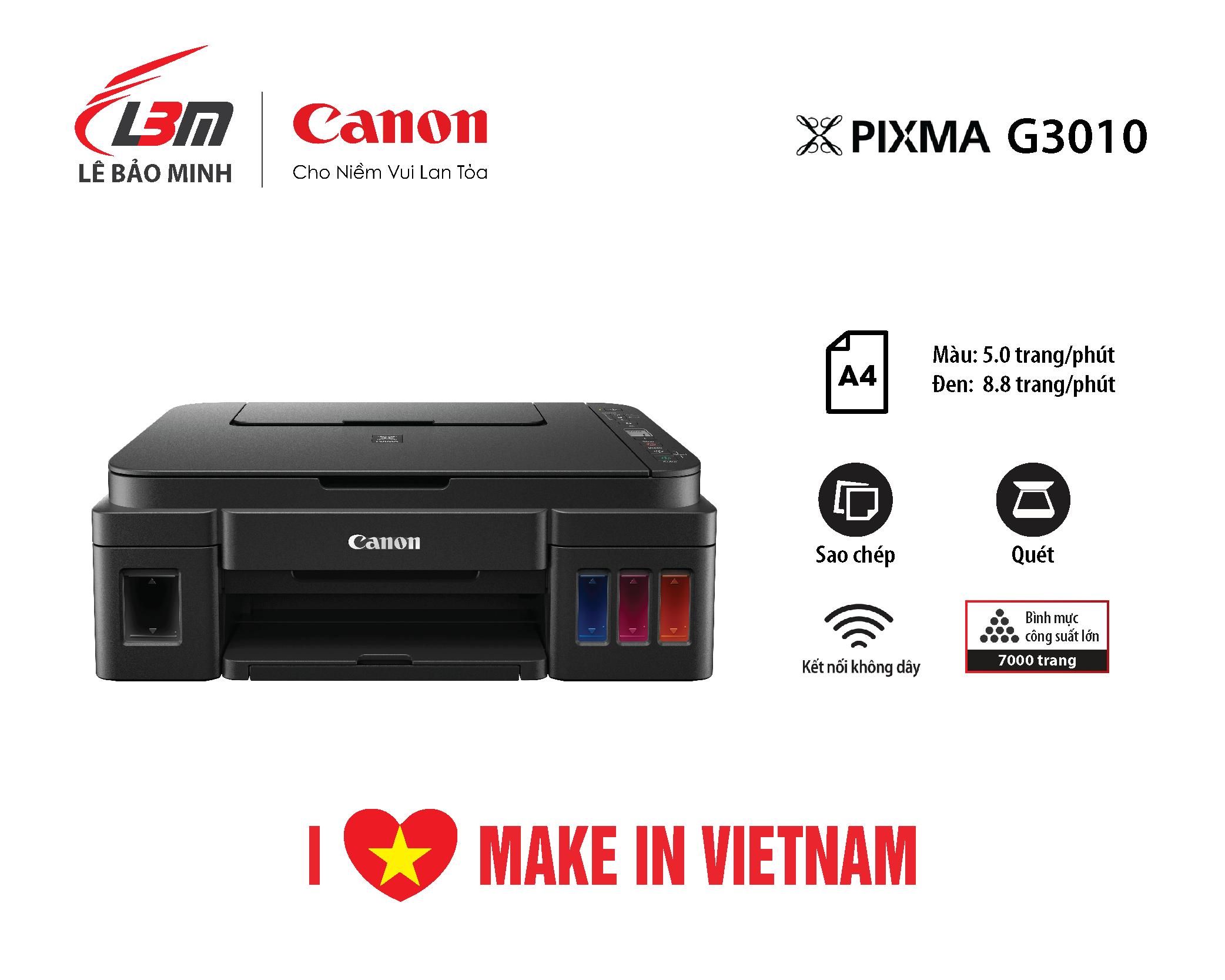 Máy in phun liên tục Canon G3010 đa năng