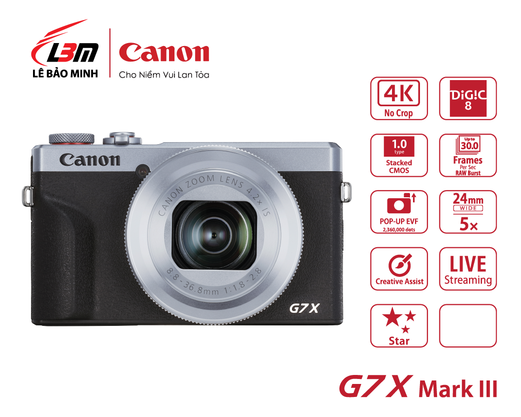 Máy ảnh Canon Powershot G7X Mk III BK/SIL (Đen/Bạc)
