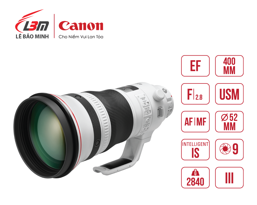 Ống kính Canon EF400mm f/2.8L IS III USM