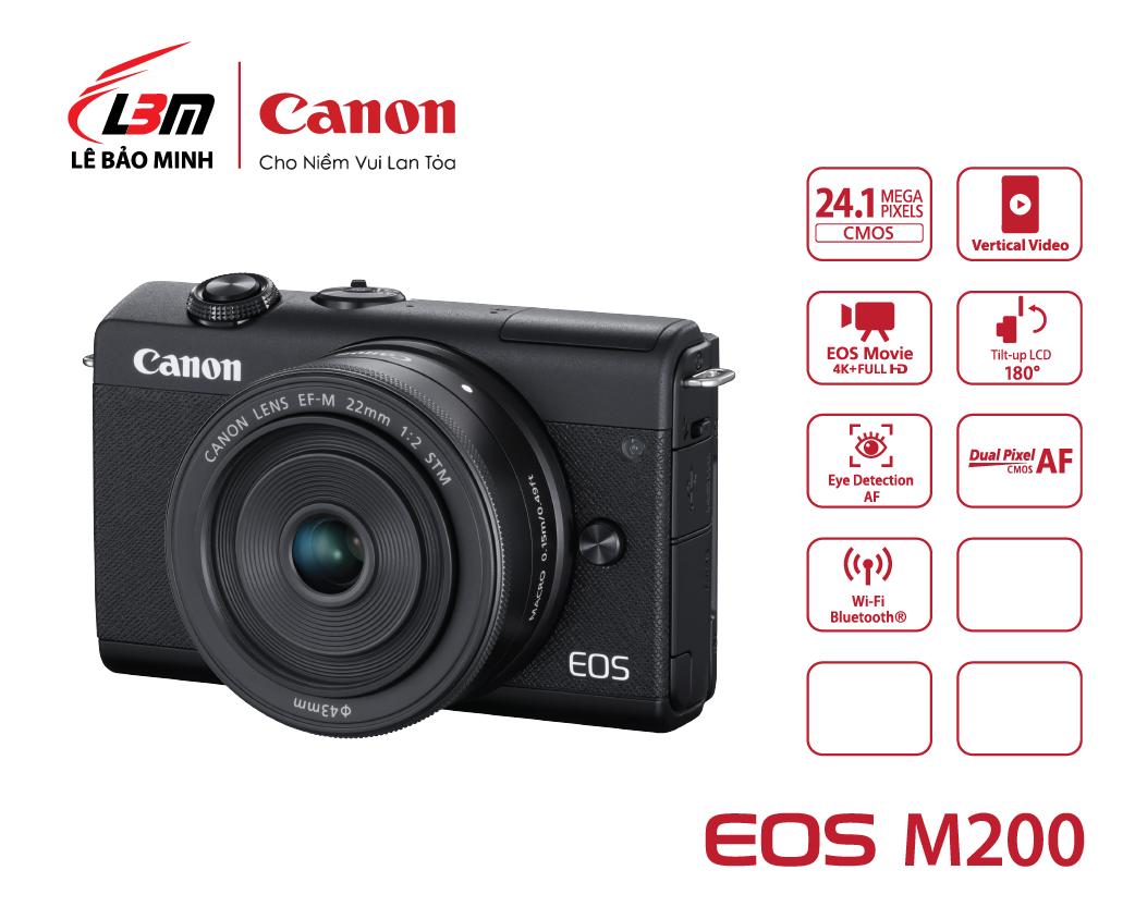 Máy ảnh Canon EOS M200 kit 15-45/M22 BK/WH (Đen/Trắng)