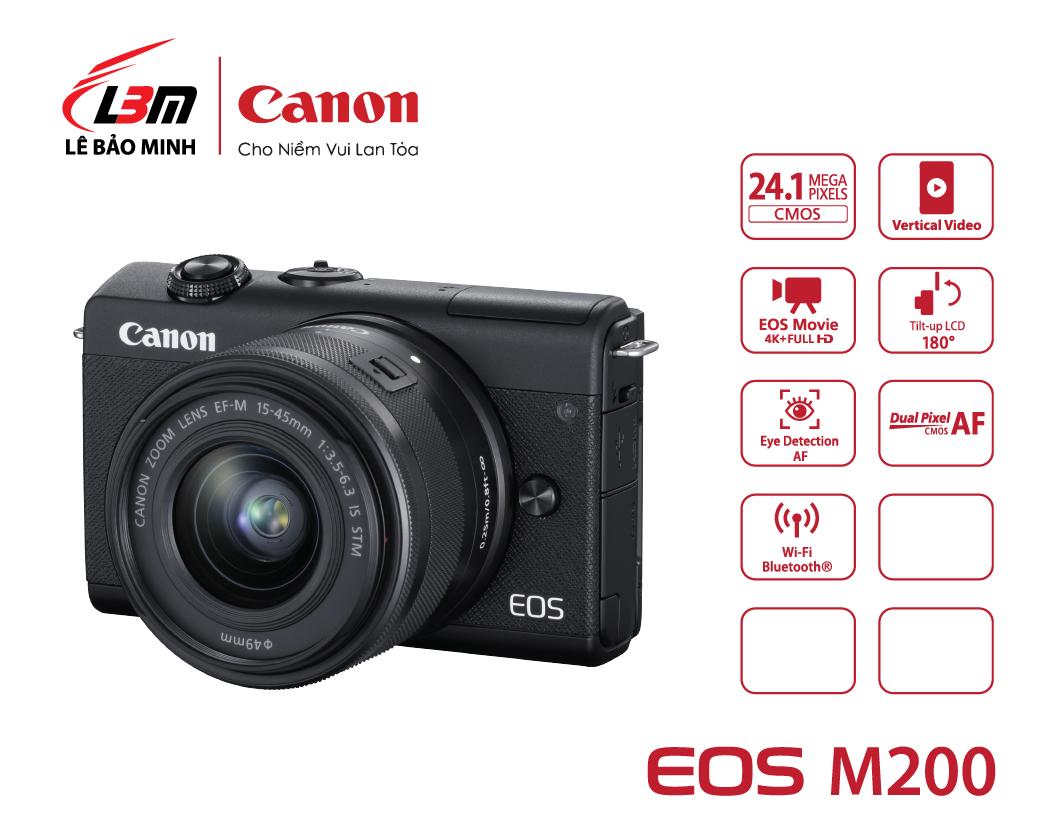 Máy ảnh Canon EOS M200 kit 15-45mm BK/WH (Đen/Trắng)