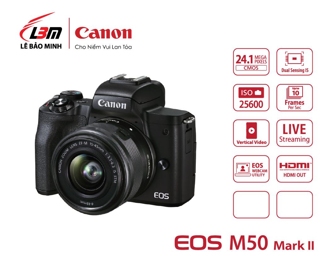 Máy ảnh Canon EOS M50 Mk II kit 15-45mm (Đen/Trắng)