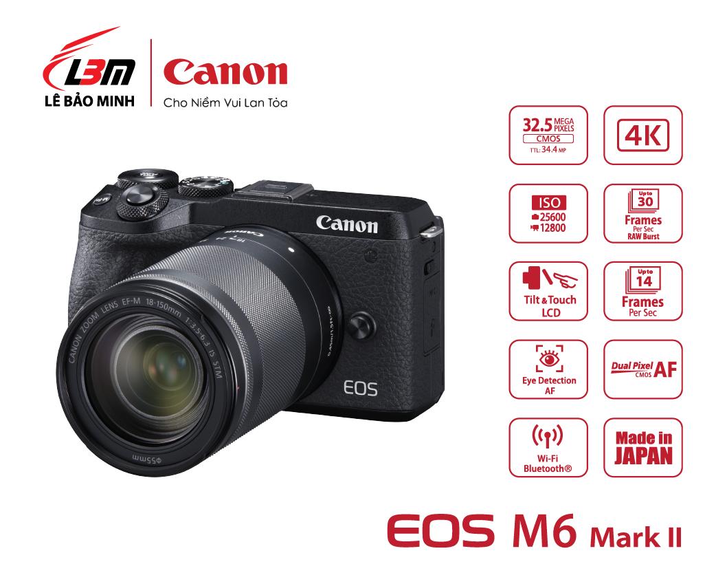 Máy ảnh Canon EOS M6 Mk II kit 18-150mm (Đen/Bạc)
