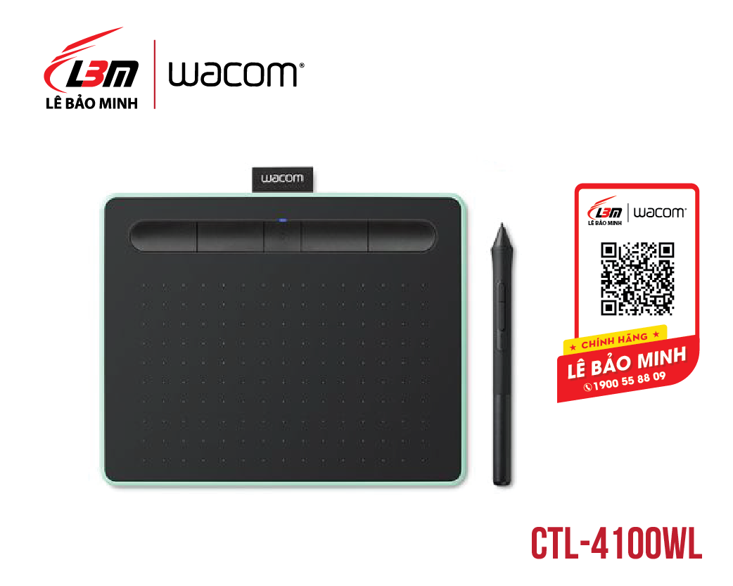 Bảng vẽ Wacom Intuos S, Bluetooth, Pistachio CTL-4100WL/E0-CX