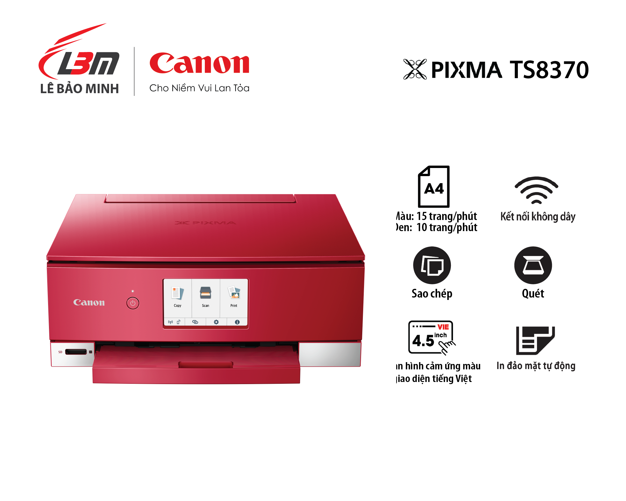 Máy in Phun Canon TS8370 Đa năng