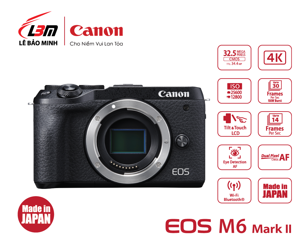Máy ảnh Canon EOS M6 Mk II Body BK/SIL (Đen/Bạc)